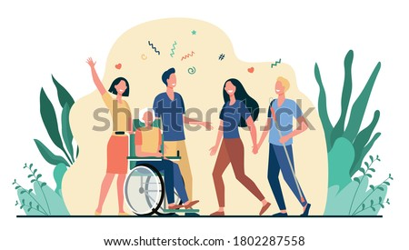 Disabled people help and diversity. Handicapped people with cane and in wheelchair meeting with friends or volunteers. Vector illustration for disability, assistance, diverse society concept