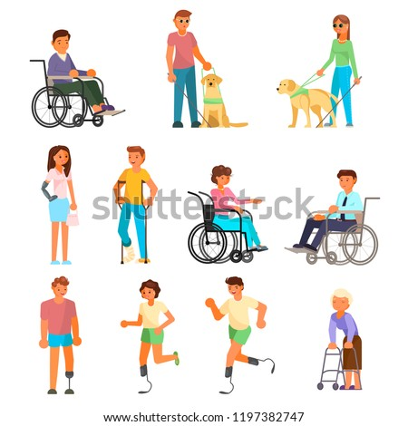 Disabled people icon set. Vector flat illustration isolated on white background. People using mobility aids walking frame, wheelchair, runner blades, crutches, prosthesis. Blind with stick, guide dog.