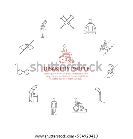 Disabled People line icons set isolated. Care Help and Accessibility. Web Banner. Vector illustration.