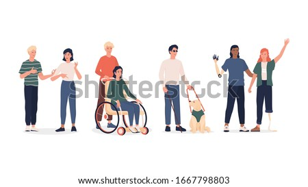 Disabled people set. Men and women with prosthesis and wheelchair, deaf-mute people and blind man with dog escort. Flat vector illustration in cartoon style. Stock foto ©