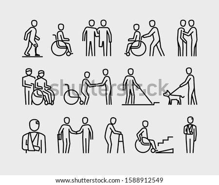 Disabled People Supporting Disability Mobility Aids Vector Line Icons