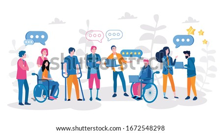 Disabled people work in the office . World Disability Day. Vector illustration for web banner, infographics, mobile. Hiring disabled people, teamwork Photo stock ©