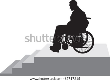 disabled person on the stairs