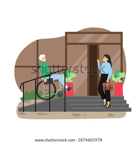 Disabled senior man in wheelchair using staircase with accessibility ramp at house entrance, flat vector illustration. Wheelchair ramps for home accessibility. Disabled person lifestyle. Foto stock ©