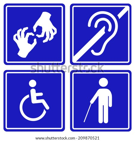Royalty Free Blue Disability Symbols And Signs 244983781 Stock