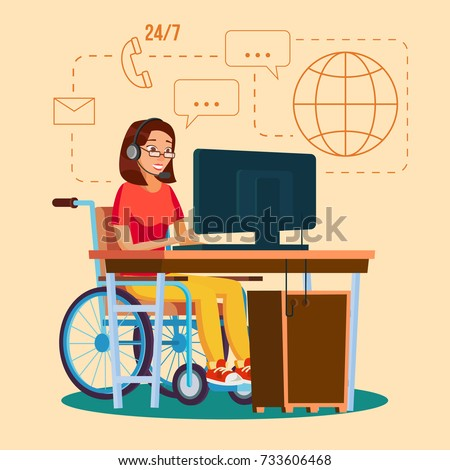 Disabled Woman Person Working Vector. Woman Sitting In Wheelchair. Disabled And Recovering. Flat Cartoon Illustration
