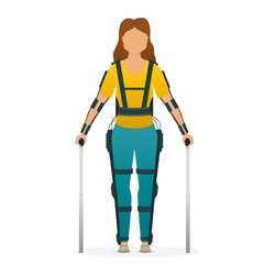 Disabled woman stay with medical exoskeleton. Medicine of the future, bionics technology. Vector illustration