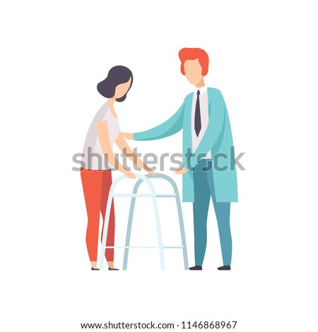 Disabled woman walking, using a walker, medical rehabilitation, physical therapy activity vector Illustration on a white background