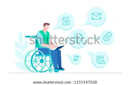 Disabled worker - flat design style illustration on white background. A composition with a person, businessman in a wheelchair working with a laptop, images of documents and files. Social concept