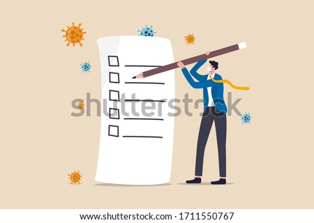 Disaster and crisis management, COVID-19 Coronavirus business plan for pandemic crisis, to do list or new normal post pandemic concept, businessman holding pencil writing check list, virus pathogen.