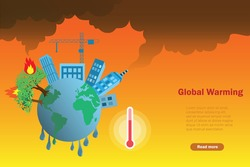 Disaster and pollution from forest fire and heat wave. World is melting from higher temperature. Global warming, climate change, save the forest, ecology and earthday concept.