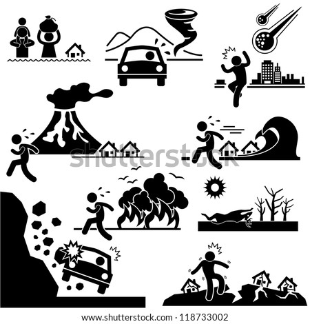 Disaster Doomsday Catastrophe Flood Tornado Meteor Volcano Tsunami Forest Fire Droughts Soil Erosion Landslide Earthquake Stick Figure Pictogram Icon