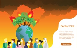 Disaster from forest fire, wildfire making air pollution and destroy forest. Flame and carbon dioxine effected to people health. Global warming, climate change, save the forest and earthday concept.