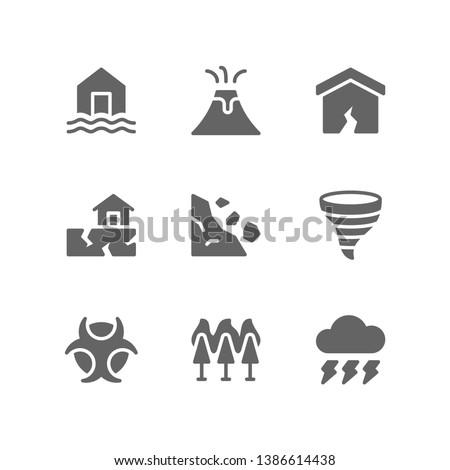 Disaster icon set including glacier, iceberg, drought, tsunami, blizzard, storm, deforestation, fire, global warming