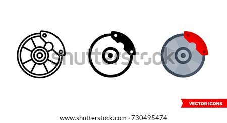 Disc brake icon of 3 types: color, black and white, outline. Isolated vector sign symbol.
