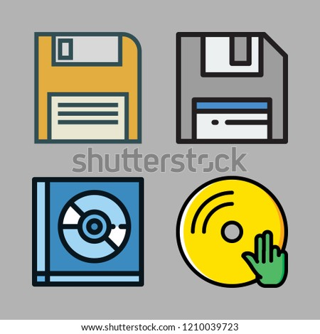disc icon set. vector set about diskette, floppy disk, vinyl and compact disc icons set.