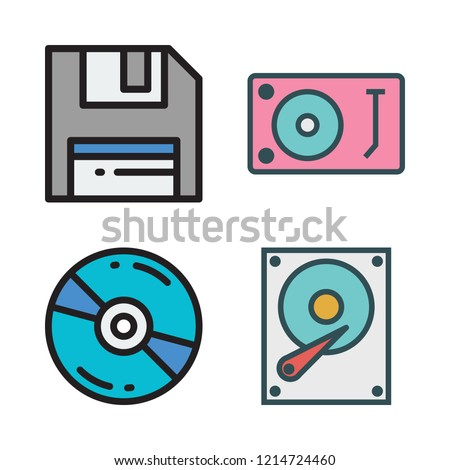 disc icon set. vector set about hard disk, floppy disk, turntable and compact disc icons set.