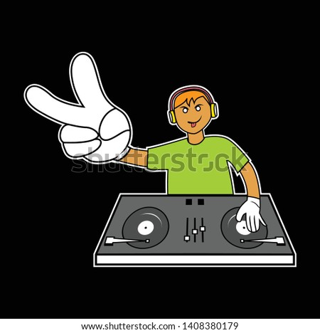 Disc Jockey cartoon with V hand sign illustration