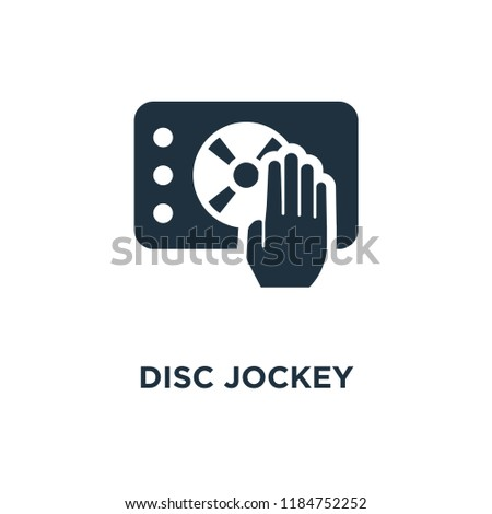 Disc jockey icon. Black filled vector illustration. Disc jockey symbol on white background. Can be used in web and mobile.