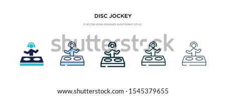 disc jockey icon in different style vector illustration. two colored and black disc jockey vector icons designed in filled, outline, line and stroke style can be used for web, mobile, ui