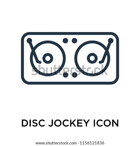 Disc jockey icon vector isolated on white background, Disc jockey transparent sign , thin pictogram or outline symbol design in linear style