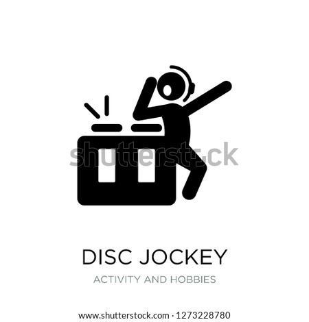 disc jockey icon vector on white background, disc jockey trendy filled icons from Activity and hobbies collection, disc jockey simple element illustration