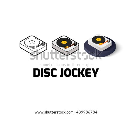 Disc Jockey icon, vector symbol in flat, outline and isometric style