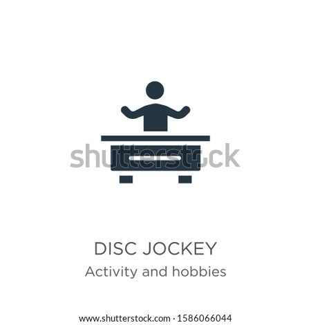 Disc jockey icon vector. Trendy flat disc jockey icon from activities collection isolated on white background. Vector illustration can be used for web and mobile graphic design, logo, eps10