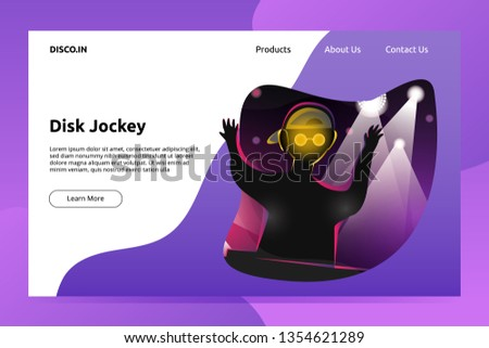 Disc Jockey Playing Music Banner and Landing Page Illustration