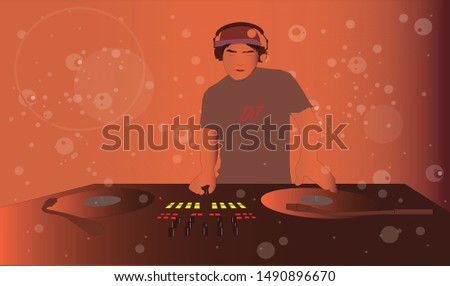 Disc Jockey putting records in a session