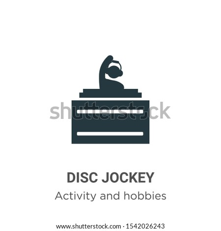 Disc jockey vector icon on white background. Flat vector disc jockey icon symbol sign from modern activities collection for mobile concept and web apps design.