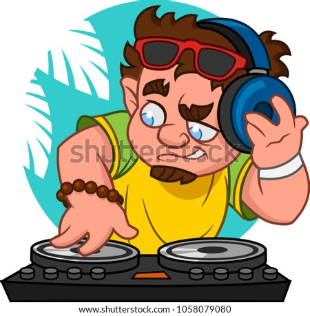 Disc jockey. Vector illustration.