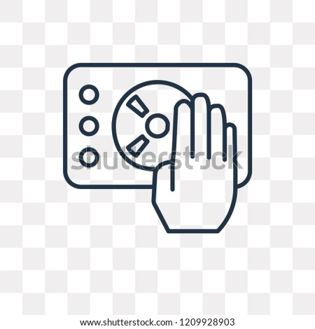 Disc jockey vector outline icon isolated on transparent background, high quality linear Disc jockey transparency concept can be used web and mobile