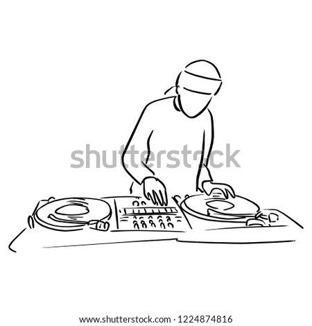 Disc jockey with the turntable dj plays scratching vinyl records and mix music tracks vector illustration sketch doodle hand drawn with black lines isolated on white background