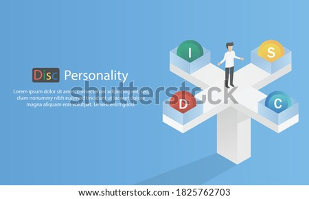 DISC -Personal Psychology (Dominance, Influence,Steadiness ,Compliance)  business and education concept,Vector illustration. Сток-фото ©
