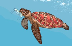 Discarded face masks pose deadly hazard to wildlife and aquatic animals, Sea turtles are threatened due to human activities, during the coronavirus outbreak concept. Illustration, Art in vector.
