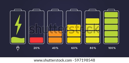 Discharged and fully charged battery smartphone.  Set of battery charge level indicators.  Icon  isolated on black background. Vector infographic.