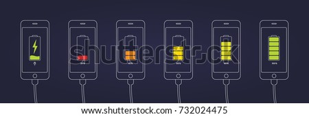 Discharged and fully charged battery smartphone. Set of smartphones with  battery charge level indicators and with USB connection.. Icon isolated on black background. Vector infographic.