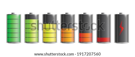 Discharged and various level energy alkaline batteries infographic set, realistic vector illustration isolated on background. Electric power accumulators bundle. Foto stock ©