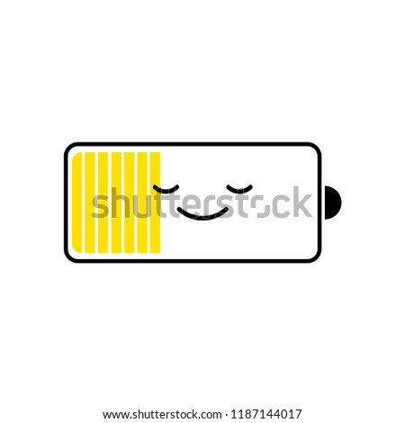 Discharged battery smartphone, charge level indicators. Funny character. Vector cartoon flat design