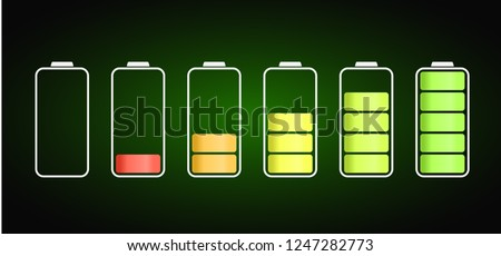 discharged to fully charged batteries, isolated vector icons, stock illustration
