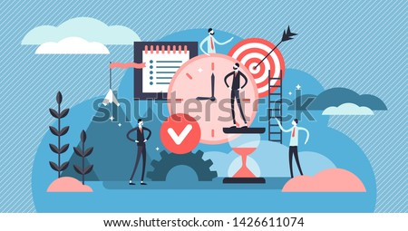 Discipline vector illustration. Flat tiny self control system persons concept. Abstract target and to do list symbolic success lifestyle with productive time management and goal effort development.