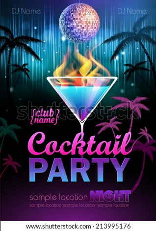 Disco background Cocktail party poster