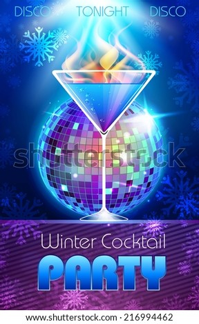 Disco background Winter Cocktail party poster