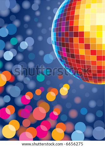 Disco background with glowing lights - stock vector