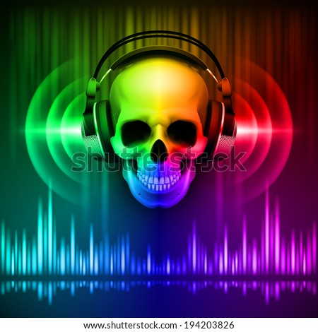 disco background with skull in