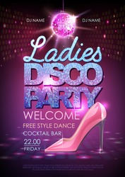 Disco ball background. Disco ladies party poster. Womens day party