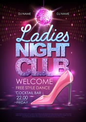 Disco ball background. Disco poster ladies night club. Womens day party