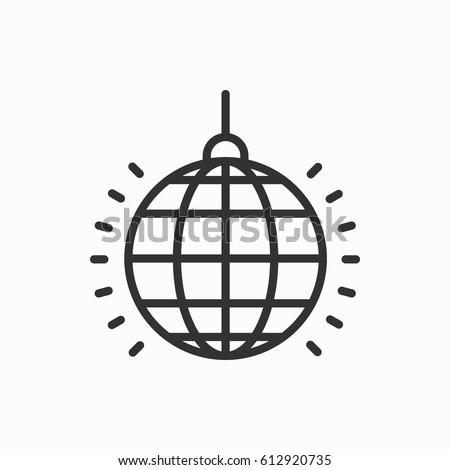 Disco ball icon. Disco, dance, nightlife club. Party celebration birthday holidays event carnival festive. Thin line party basic element icon. Vector simple linear design. Illustration. Symbols.