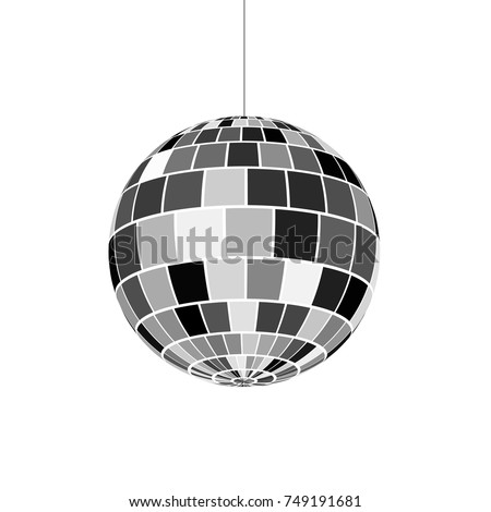 Disco ball icon. Symbol nightlife of 70s. Retro disco party. Vector illustration